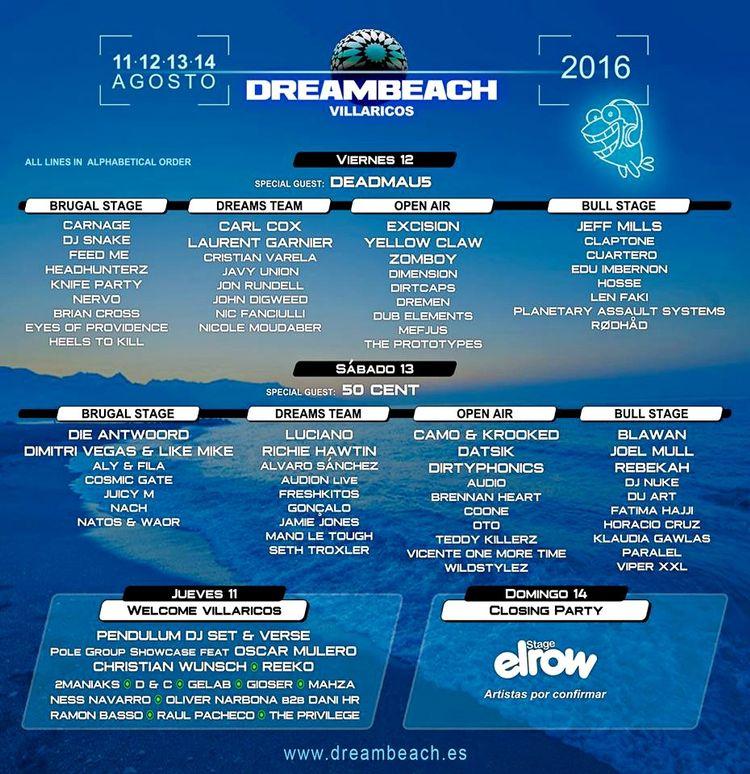 Dreambeach Villaricos 2016 distribución días
