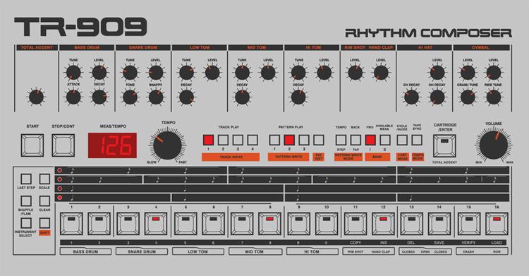Disfruta de las Roland TR-909 y TR-808... online