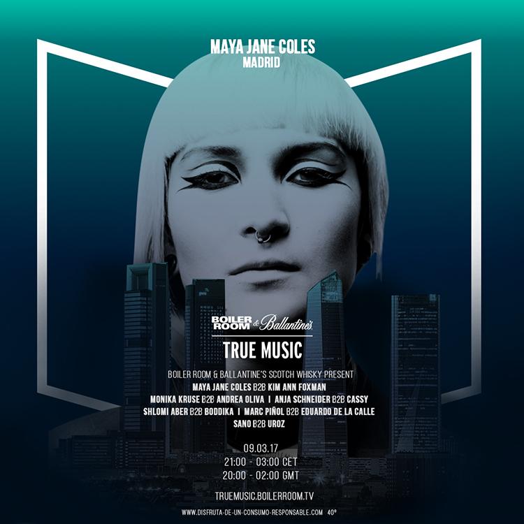 Maya Jane Coles llega a Madrid con Boiler Room y Ballantine's