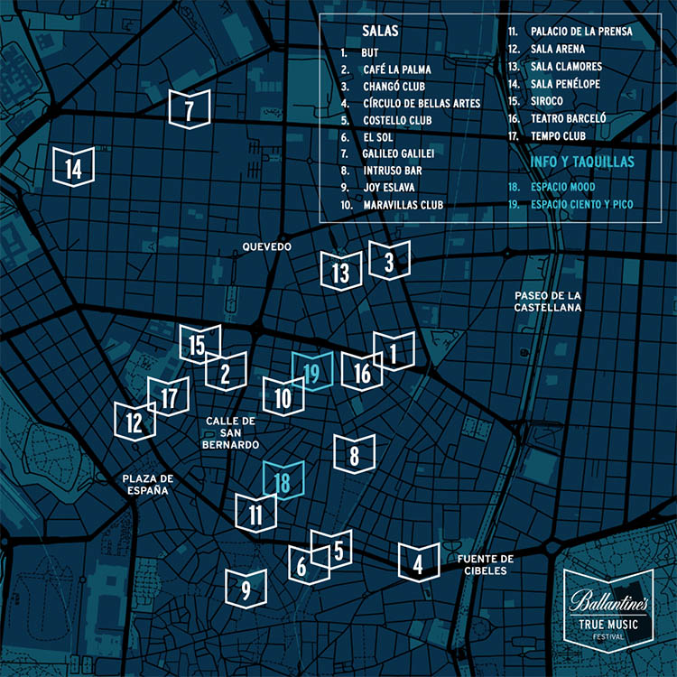 ballantine's true music festival mapa salas madrid